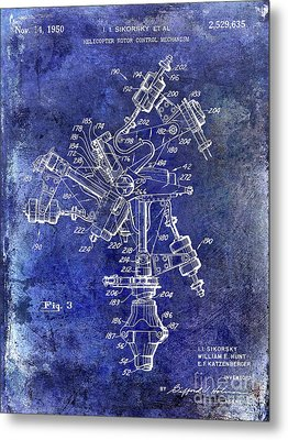 1950 Helicopter Patent Metal Print by Jon Neidert