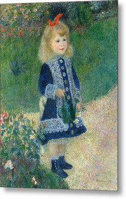 A Girl With A Watering Can Metal Print by Auguste Renoir