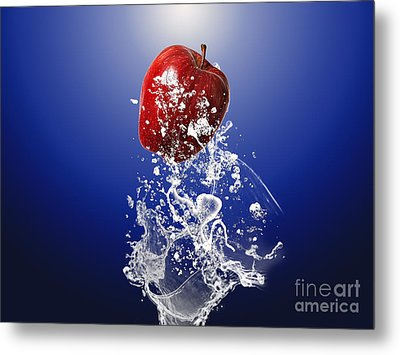 Apple Splash Metal Print