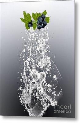 Blueberry Splash Metal Print