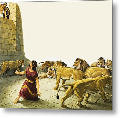 Daniel In The Lion's Den Metal Print by English School