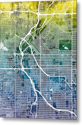 Denver Colorado Street Map Metal Print by Michael Tompsett