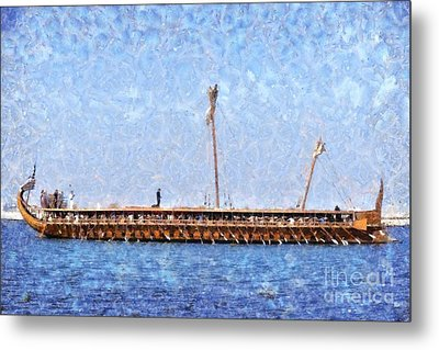 Painting Of An Ancient Trireme Metal Print by George Atsametakis