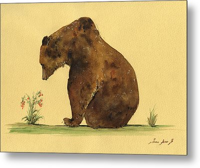 Grizzly Bear Watercolor Painting Metal Print by Juan  Bosco