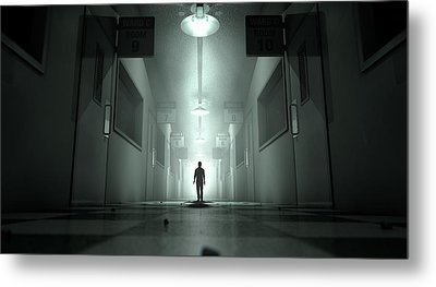 Mental Asylum With Ghostly Figure Metal Print by Allan Swart