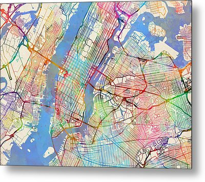 New York City Street Map Metal Print