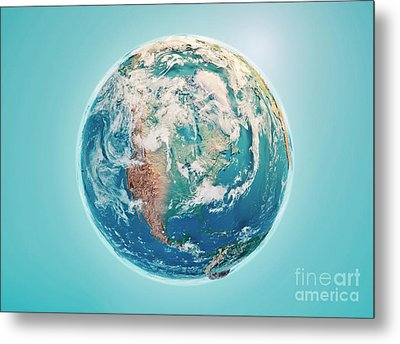 North America 3d Render Planet Earth Clouds Metal Print by Frank Ramspott