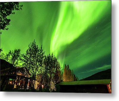 Northern Lights, Aurora Borealis At Kantishna Lodge In Denali National Park Metal Print
