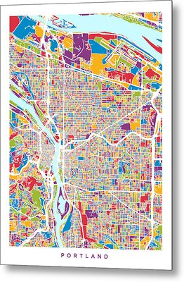 Metal Print featuring the digital art Portland Oregon City Map by Michael Tompsett
