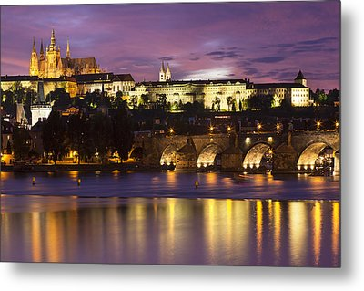Prague Castle And Charles Bridge Metal Print by Andre Goncalves