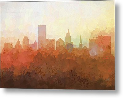 Metal Print featuring the digital art Providence Rhode Island Skyline by Marlene Watson
