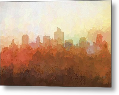 Metal Print featuring the digital art Salt Lake City Utah Skyline by Marlene Watson