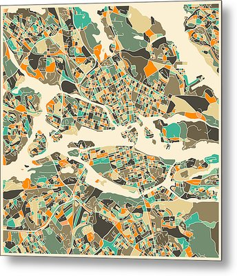 Stockholm Map Metal Print by Jazzberry Blue
