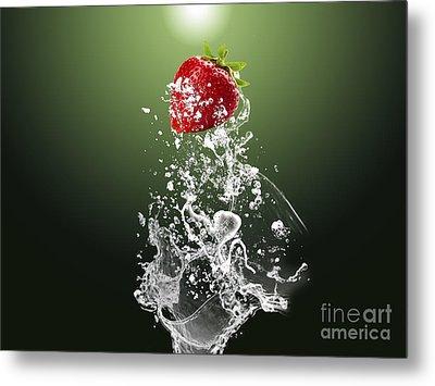 Strawberry Splash Metal Print