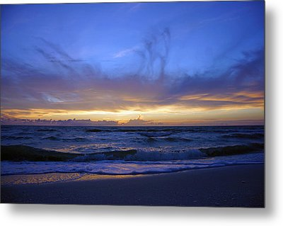 Sunset At Delnor Wiggins Pass State Park Metal Print by Robb Stan