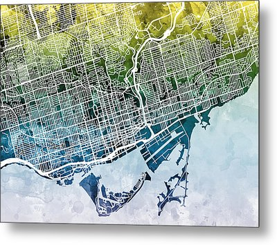Toronto Street Map Metal Print by Michael Tompsett