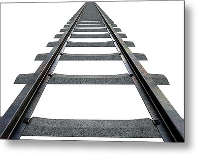 Train Tracks Isolated Metal Print