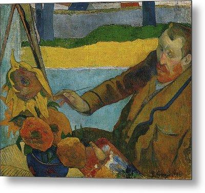 Vincent Van Gogh Painting Sunflowers  Metal Print by Paul Gauguin