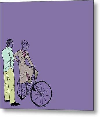 Vintage Bike Couple Metal Print by Karl Addison