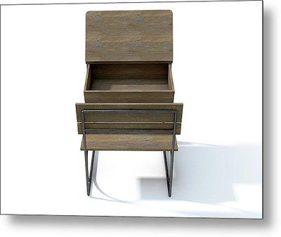 Vintage School Desk Open Empty Metal Print by Allan Swart