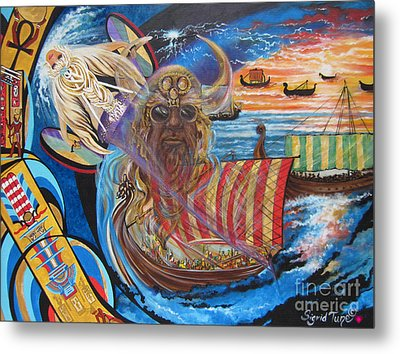 Metal Print featuring the painting 500 Empires Never Die - Odin by Sigrid Tune