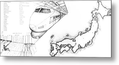 5.1.japan-map-of-country-with-bullet-train Metal Print