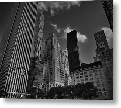 5th Ave. At Central Park South 001 Bw Metal Print by Lance Vaughn