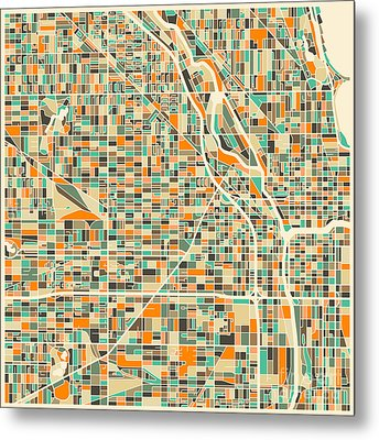 Chicago Map Metal Print by Jazzberry Blue