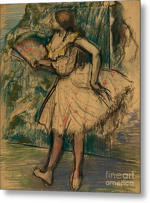 Dancer With A Fan Metal Print by Edgar Degas