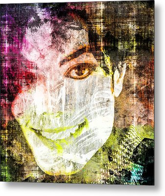 Metal Print featuring the mixed media Michael Jackson by Svelby Art