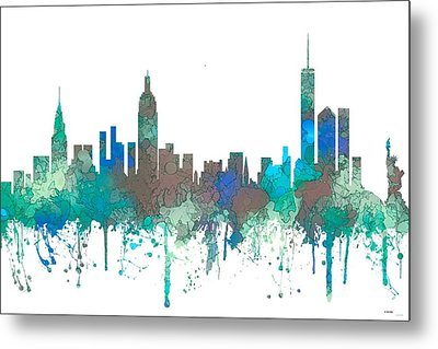 Metal Print featuring the digital art New York Ny Skyline by Marlene Watson