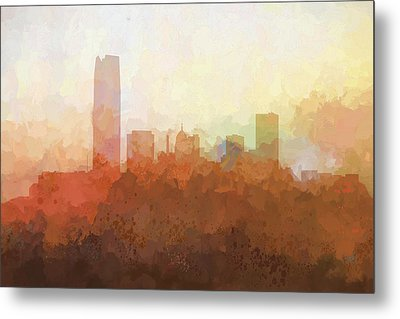 Metal Print featuring the digital art Oklahoma City Oklahoma Skyline by Marlene Watson
