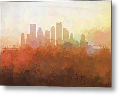 Metal Print featuring the digital art Pittsburgh Pennsylvania Skyline by Marlene Watson
