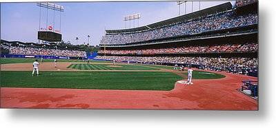 Spectators Watching A Baseball Match Metal Print by Panoramic Images