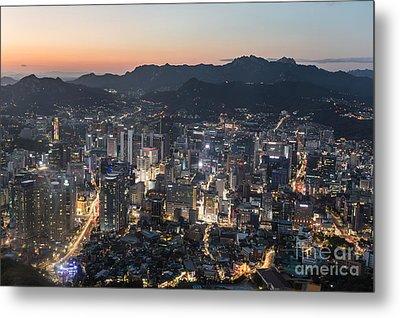 Sunset Over Seoul Metal Print