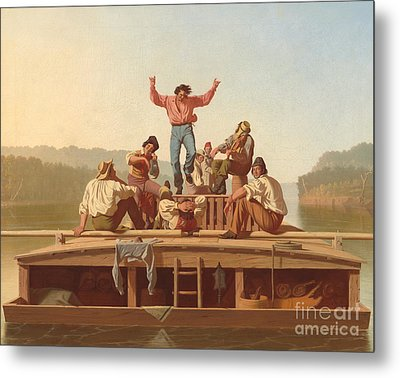 The Jolly Flatboatmen Metal Print by George Caleb Bingham