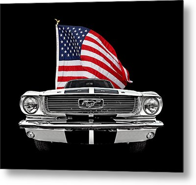 66 Mustang With U.s. Flag On Black Metal Print