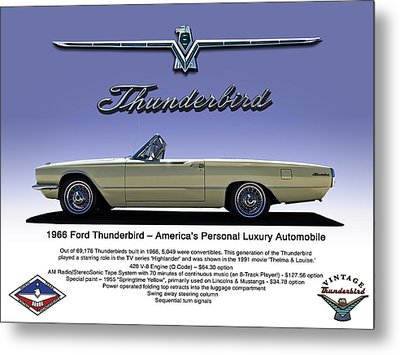 '66 Thunderbird Convertible Metal Print by Douglas Pittman