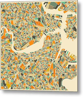 Boston Map Metal Print by Jazzberry Blue