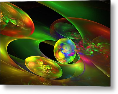 Computer Generated Planet Sphere Abstract Fractal Flame Modern Art Metal Print by Keith Webber Jr
