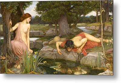 Echo And Narcissus Metal Print by John William Waterhouse