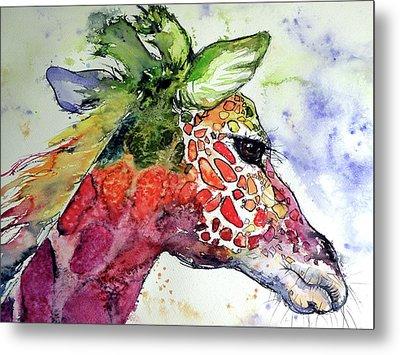 Metal Print featuring the painting Giraffe  by Kovacs Anna Brigitta