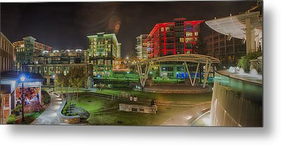 Greenville South Carolina Near Falls Park River Walk At Nigth. Metal Print