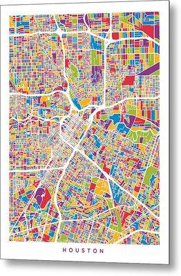 Houston Texas City Street Map Metal Print by Michael Tompsett