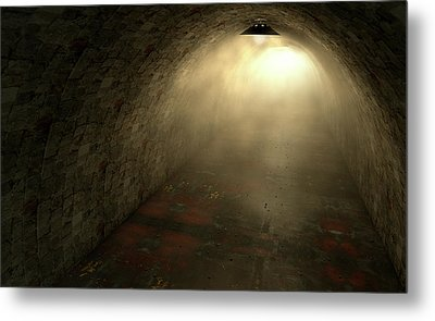 Long Tunnel Lights Metal Print by Allan Swart