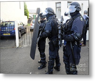 Loyalist Protesters Attack Police Lines Metal Print