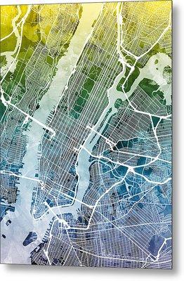 New York City Street Map Metal Print by Michael Tompsett