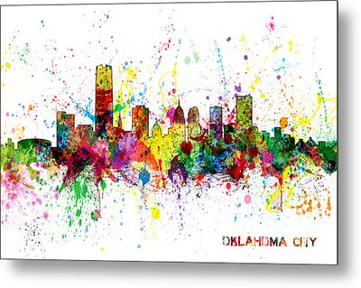 Metal Print featuring the digital art Oklahoma City Skyline by Michael Tompsett