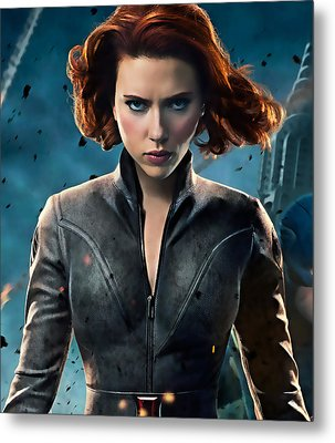 Scarlett Johansson Black Widow Collection Metal Print