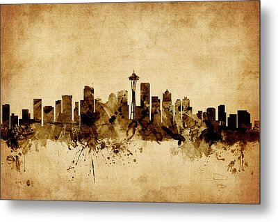 Seattle Washington Skyline Metal Print by Michael Tompsett